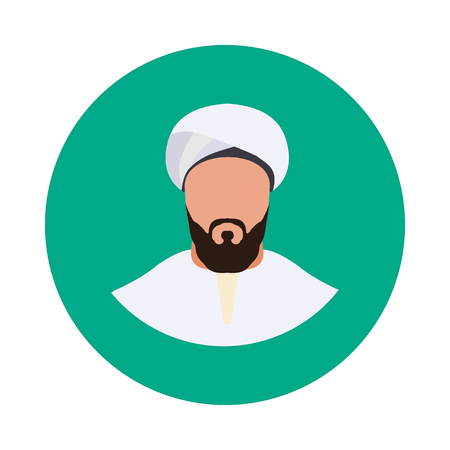 flat Muslim man icon in vector format Illustration