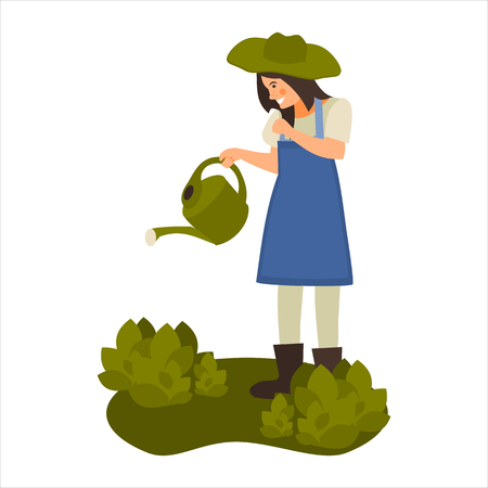 flat illustration of a girl with a watering can in vector format Illustration