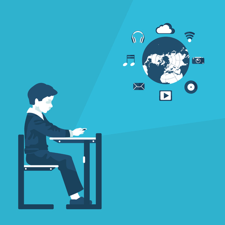 flat illustration of distance education in vector format