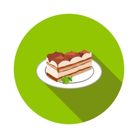 tiramisu dessert flat icon in vector format