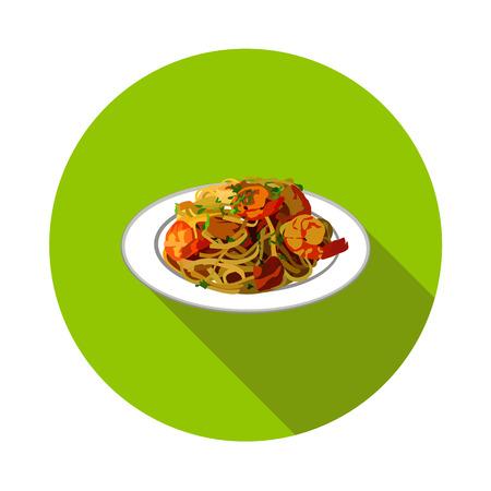 Flat Italian pasta icon in vector format