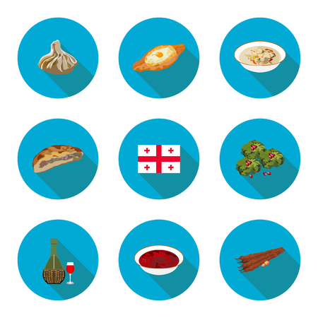 set of flat icons Georgian dishes in vector format