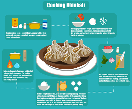 Flat info-graphics khinkali recipe vector illustration.