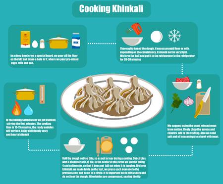 Flat info-graphics khinkali recipe illustration. Illustration