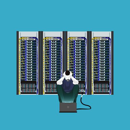 Programmer in the server room vector illustration. Illustration