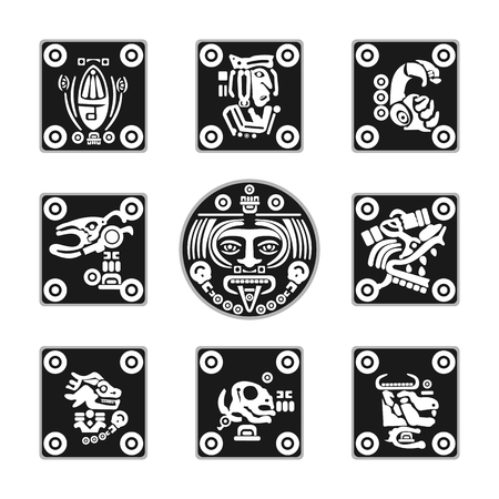 set of flat Aztec ornament icons in vector format