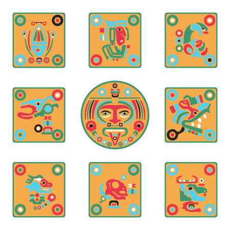 set of flat icons colored Maya signs in vector format