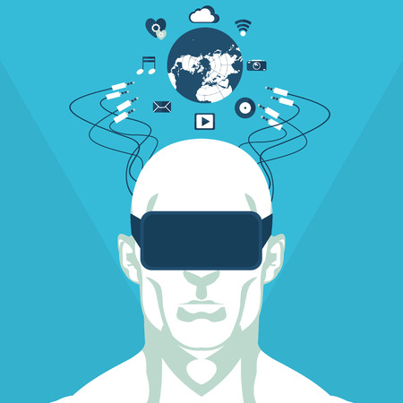 flat illustration of man and virtual reality in vector format Illustration