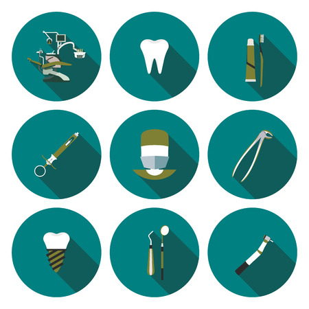 set of flat icons dentistry in vector format