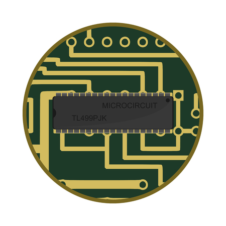 creative flat microchip icon in vector format