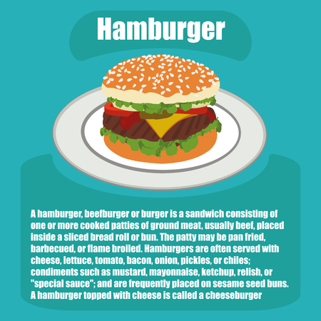 flat illustration of a hamburger with a description in vector format