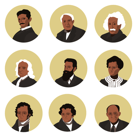 a set of flat icons of the great physics of the world in vector format Banco de Imagens - 105405048