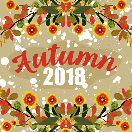flat illustration of autumn in vector format