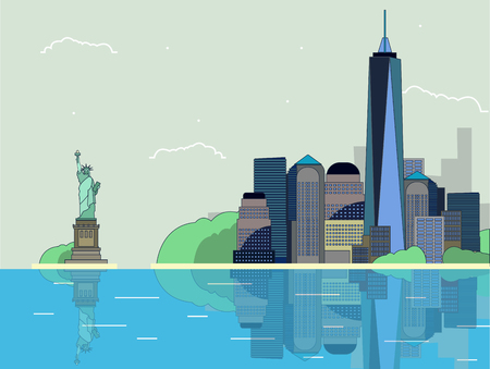 flat illustration panorama of new York city in vector format