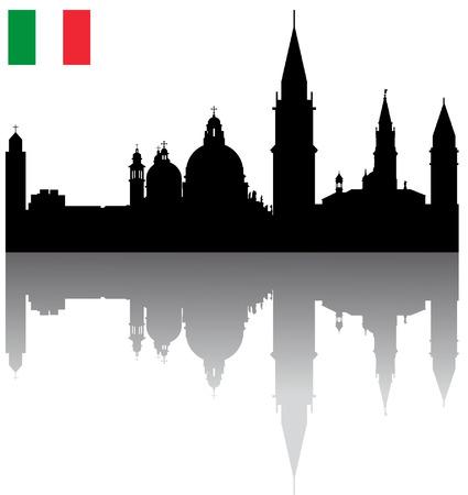 bandera de italia: Detallada Negro vector Venecia silueta horizonte con bandera italiana Vectores