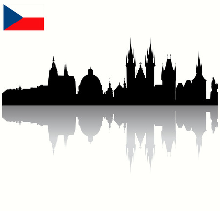 Detailed Black vector Prague silhouette skyline with Czech flag