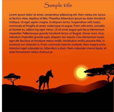 Afrika Sonnenuntergang Hintergrund Vektorgrafik