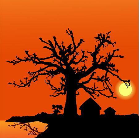 africa sunset: sfondo tramonto Africa: villaggio africano Vettoriali
