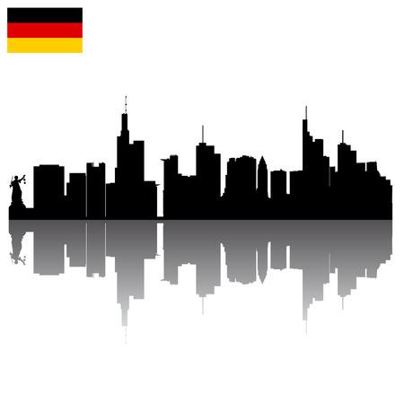 Black detailed vector silhouettes of Frankfurt with German flag Illustration
