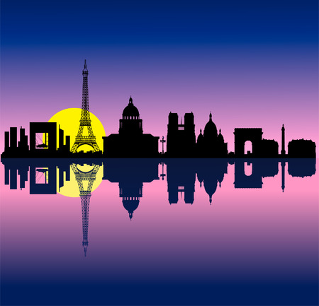 Black vector Paris sunrise silhouette skyline