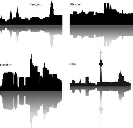 Black vector silhouettes of German town  Vector