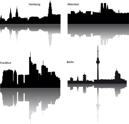 Vecteur noir silhouettes de ville allemande