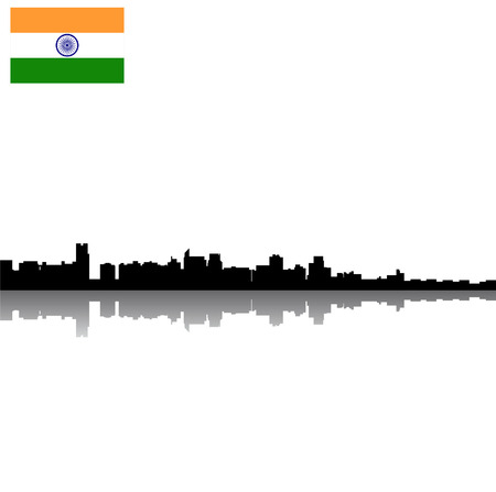 Black vector New Delhi silhouette skyline with flag Illustration