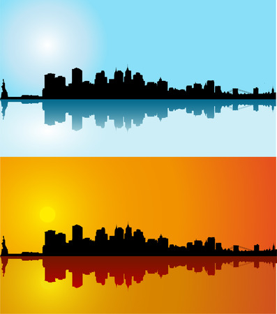 Black vector New York silhouette skyline on day Stock Vector - 5464798