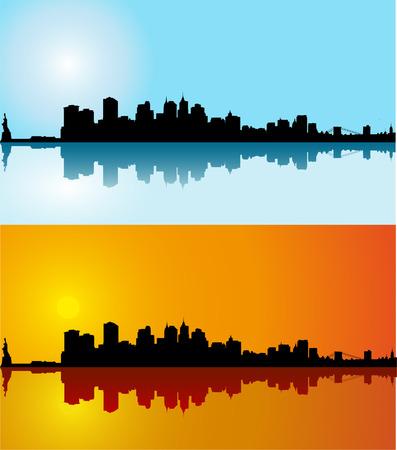Black vector New York silhouette skyline on day
