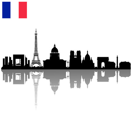 Detailed black vector Paris silhouette skyline with French flag