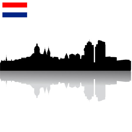 Black vector Amsterdam silhouette skyline with flag Illustration
