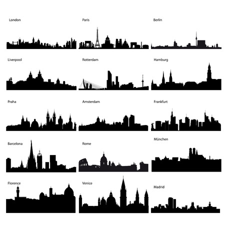 Detailed vector silhouettes of European cities Vector