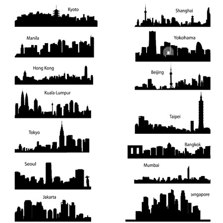 indonesien: Detaillierte Vector Silhouettes of Asian cities  Illustration