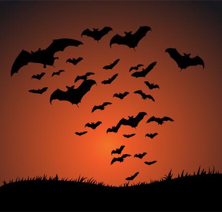 Flying bat Halloween background