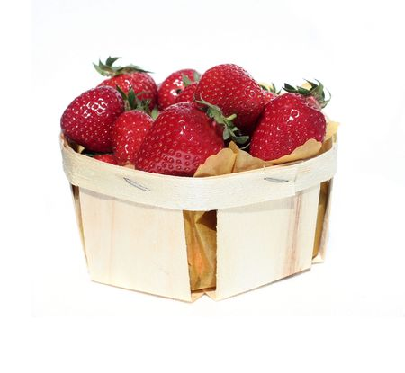 basket of strawberries isolated on white Stock Photo