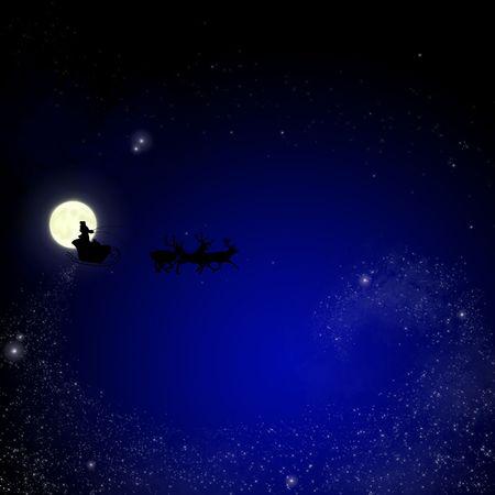 Santa on sky christmas background  photo