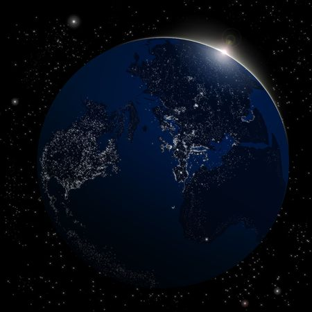 Earth from space. Space sunrise background