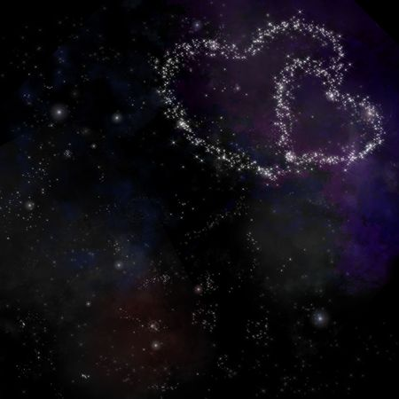 2 hearts romantic space background