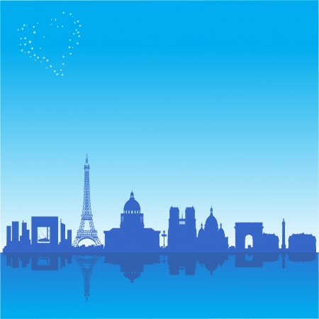 Romantic background with Paris silhouette Illustration