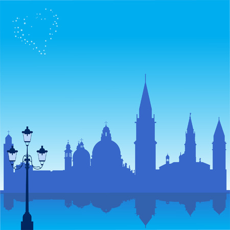 Romantic background with Venice silhouette  Romantic background with Venice silhouette Stock Vector - 6191377