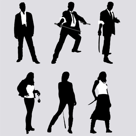 handcuffs woman: bad guys vector silhouettes (men and women)