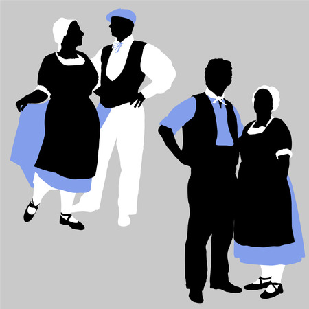 Vector silhouettes of couples in traditional French costumes