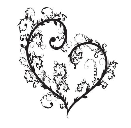 Vector floral heart Vector