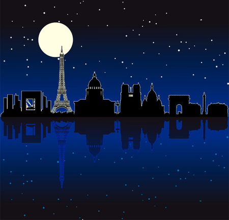 Black vector illuminated Paris by night silhouette skyline Vector