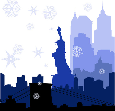 vector Christmas New York silhouettes illustration Stock Vector - 6191384