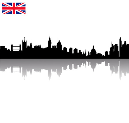 Detailed Black vector London silhouette skyline with union flag