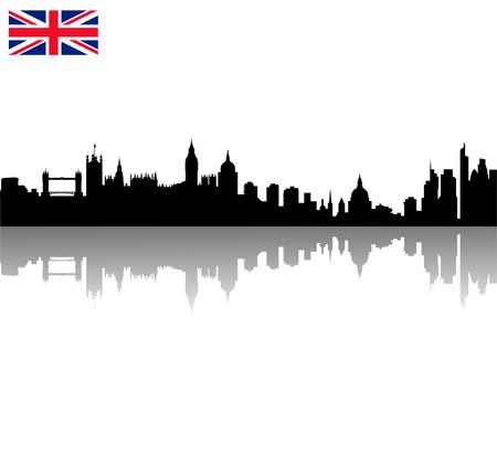 Detailed Black vector London silhouette skyline with union flag