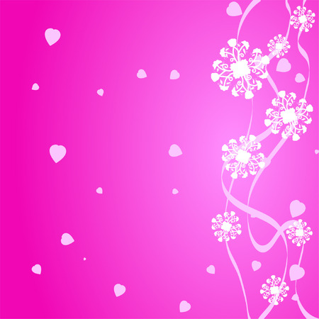 Pink romantic background with hearts and lines Stock Vector - 6217691