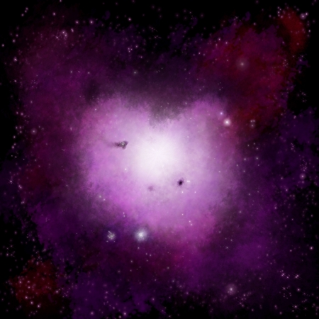 purple stars: Heart Nebula space romantic background Stock Photo
