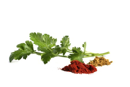 Parsley, rosemary and spices isolated on white Stock Photo - 7845922